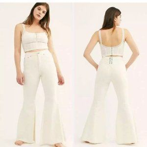 Free People   Super High Rise Lace-Up Flare Jeans
